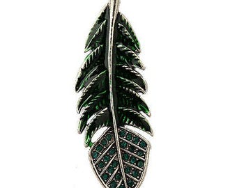 1 large charm green enameled feather with Rhinestones in silver