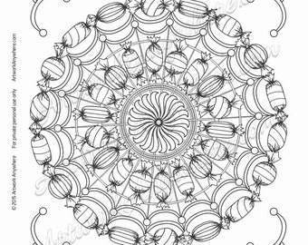 Hard Candy Circus Fun Fair Mandala - Adult coloring page printable download from Candy Kaleidoscope Artwork Anywhere ~hand drawn candies~