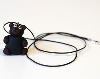 Teddy bear handmade pendant necklace gift