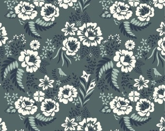 Merryweather CANVAS in Merry Floral Slate from Birch - 1/2 yard