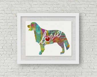 Golden Retriever Love - Canvas Paper Print: A Colorful Watercolor Style Original Dog Breed Wall Hanging / Can Be Personalized