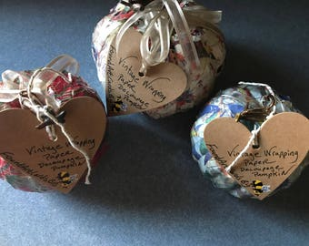 Vintage Wrapping Paper Decoupage Pumpkins