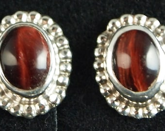 Red Tiger Eye Post Earrings in Sterling Silver