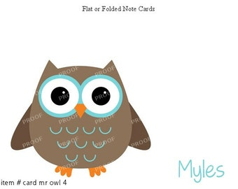 Blue Brown Owl Note Cards Set of 10 personalized flat or folded cards