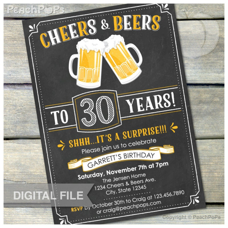 Surprise 30th birthday invitation cheers beers invite zoom filmwisefo Gallery