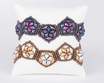 Playful Pentagon Bracelet Pattern using DiamonDuo beads - PDF Tutorial Beading