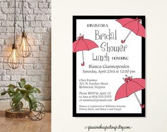 Bridal Shower Invitation, Umbrella Wedding Shower Invitation, Traditional Bridal Shower Invite, Shower the Bride, Bridal Shower Lunch, Bride