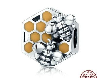 Honeycomb Honey Bee Charm