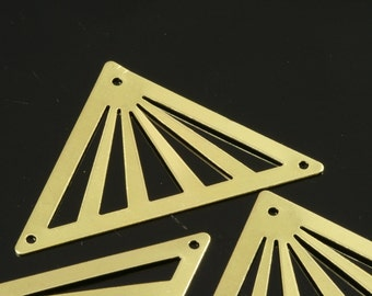 30 Pcs Raw Brass 45 x 28 mm triangle tag 3 hole connector Charms ,Findings 743R-51