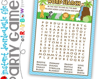 GAME3-127: DIY - Jungle Friends Word Search Party Game - Instant Downloadable File