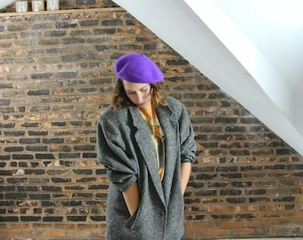 80's Vintage || Wool Over sized Grey Tweed Boyfriend Style Benetton Blazer || 0446