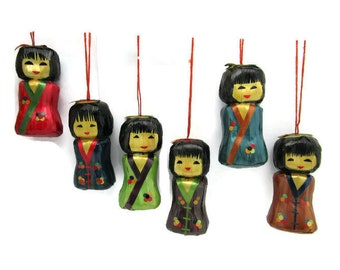 Chinese Doll Ornaments/ Lacquered Straw Dolls/Dyed Bamboo Hanging ornaments / Asian Girl