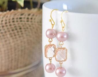 Pink and Champagne Earrings, Bridesmaid Earrings, Wedding Jewelry, Glass Dangle Earrings, Champagne Earrings
