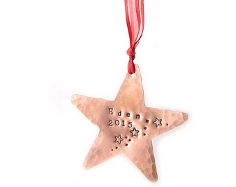 Handmade Star Ornament, Holiday Ornament, Christmas Ornament, Star Ornament, Personalized Copper Ornament