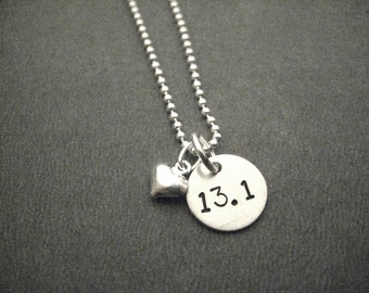 LOVE 13.1 Puffed Heart Sterling Silver Half Marathon Necklace - 16, 18 or 20 Sterling Silver Ball Chain - 13.1 Running Necklace - First Half
