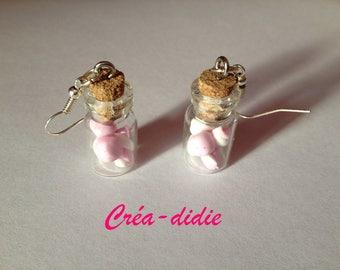 Vials of Marshmallow earrings.