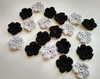 30pcs mini crochet black and grey flowers,decoration flowers,scrapbooking flowers appliques, handmade flowers,small flower embellishment