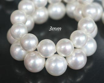 3 mm South Sea Shell Pearls beads, Round shell Beads, white shell beads, 15 inches one strand