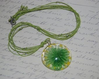 Green Summer Necklace With Round Green Flower Glass Pendant