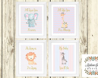 Ill Love You Forever JUNGLE WALL ART, Baby Elephant Giraffe Lion Zebra Jungle Wall Art, Instant Download, Digital Printable, Jungle Animals