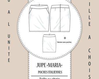 "Sewing pattern ""Maria"" skirt - Choose your size from XS to 3XL"