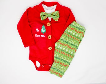 Nordic Baby Boy Christmas Outfit. Red Green Cardigan Set with Joggers. 1st Christmas. Newborn Boy. Bow tie.