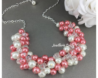 Coral Necklace Bridesmaid Necklace Coral Jewelry Bridesmaids Gift for Her Wedding Jewelry Gift on a Budget Maid of Honor Gift