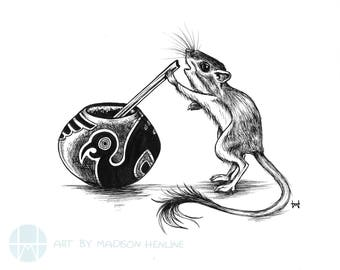 Yerba Mate Mouse Pen and Ink Illustration Print