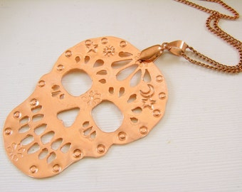 Hand Cut Copper Sugar Skull Pendant with chain