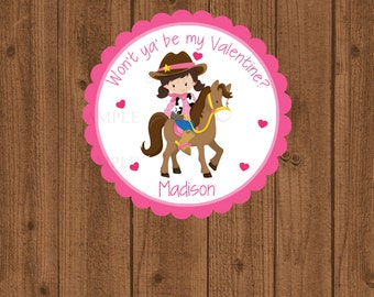Cowgirl Western Valentine's Day Tag, Cowgirl Valentine, Cowgirl Horse Girls Valentine Tag