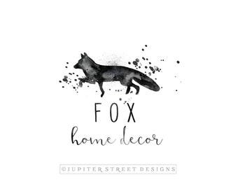 Fox Logo-Watercolor Logo-Business Logo-Made to Match Items Available