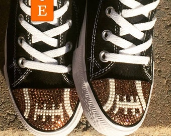 Football Blinged Converse Low Tops. Bling Converse Shoes. Women's Custom Football Shoes. Football Fans, Football Mom Gift. Gift for Her.