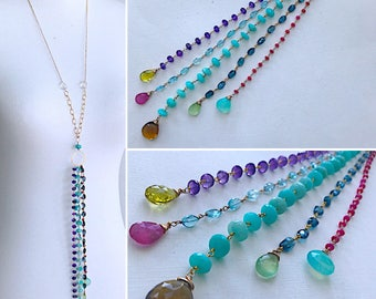 Dream Tassel Long Necklace - London blue topaz, aquamarine, amazonite, amethyst, ruby