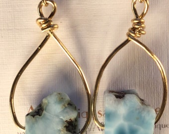 Larimar earrings-- larimar slices on 14K GF wire