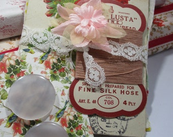 Pink vintage inspiration pack, postcard, buttons, fabric and trim - crafter gift