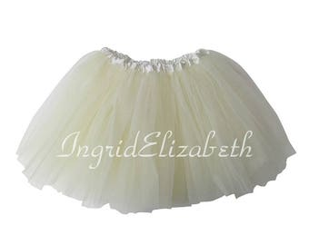 Cream 4-Layer Tutu, Cream Toddler Tutu, Cream Ballet Tutu, Cream Tutu Skirt, Cream Girls Tutu, Cream Dance Tutu, Tulle Skirt, Costume