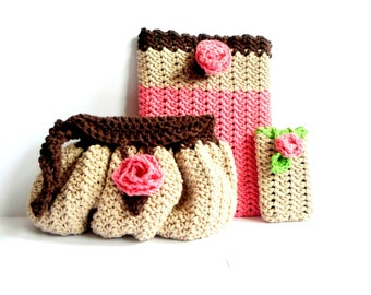 Blossoming Buttons Set (clutch, ipad cozy & iphone cozy) crochet pdf pattern INSTANT DOWNLOAD