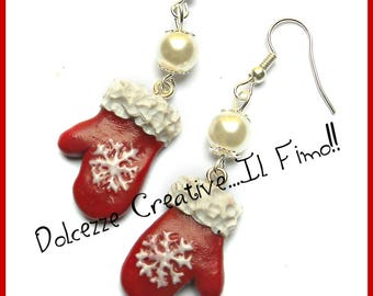 Christmas In Sweetness - Earrings gloves for the snow with snowflake - handmade - gift idea