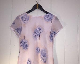90's floral print midi dress