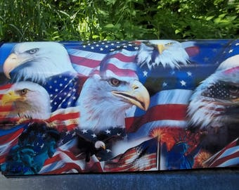 Flags, flags and Eagles-Painted and or other mixed media Mailbox