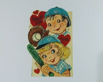 Unused 1950's Glitter Valentine's Day Card-New Old Stock