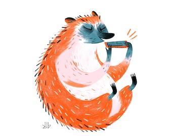 8x10 - Hedgehog Playing Harmonica - Art Print