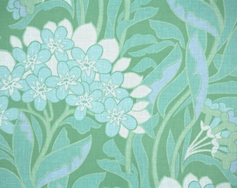 Retro Wallpaper by the Yard 70s Vintage Wallpaper - 1970s Teal Aqua and White Tropical Floral