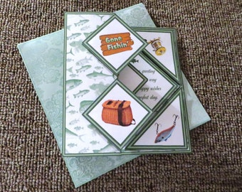 Gone fishing popout card with matching insert and envelope.