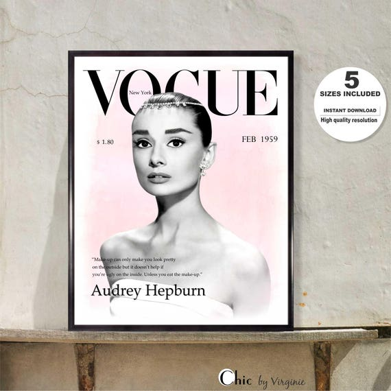 Audrey Hepburn print Vogue Poster Gift For her Audrey