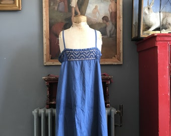 Antique French blue cotton ladies slip lacy nightdress size M/L