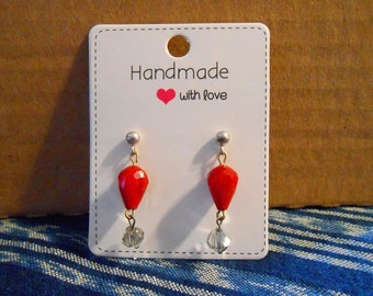 Earring cards Handmade with Love Red hearts Glossy White Earring display cards Jewelry display Packaging Hang tags Jewelry cards Supplies