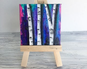 Birch Trees - Original Miniature Painting On Canvas With Easel