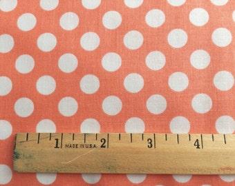 Peach Dot Fabric - Michael Miller Peach Ta Dot Fabric - Coral and White Polka Dot Material