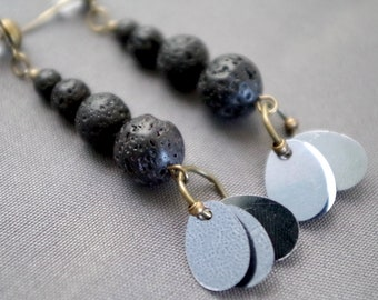 Black lava stone earrings.